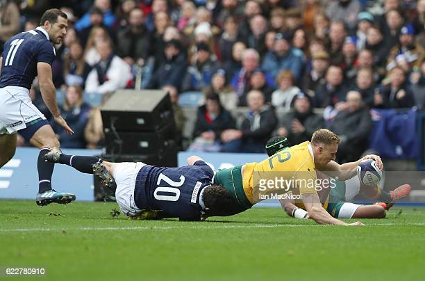Reece Hodge of Australia scores Australia's first try of the game during the Scotland v Australia Autumn Test Match at Murrayfield Stadium on...