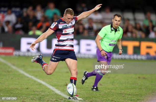 Reece Hodge of the Melbourne Rebels during the Super Rugby match between Cell C Sharks and Rebels at Growthpoint Kings Park on April 22 2017 in...