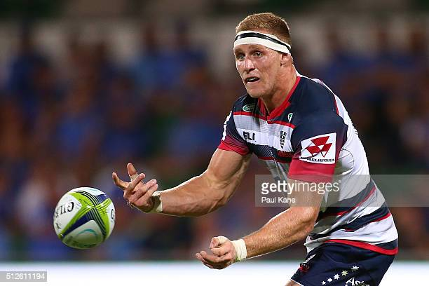 Reece Hodge of the Rebels passes the ball during the round one Super Rugby match between the Force and the Rebels at nib Stadium on February 27 2016...