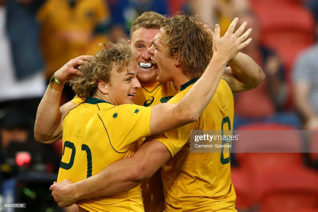 Reece Hodge of the Wallabies celebrates with team mates after scoring a try during the International Test match between the Australian Wallabies and Italy at Suncorp Stadium on June 24, 2017 in Brisbane, Australia.