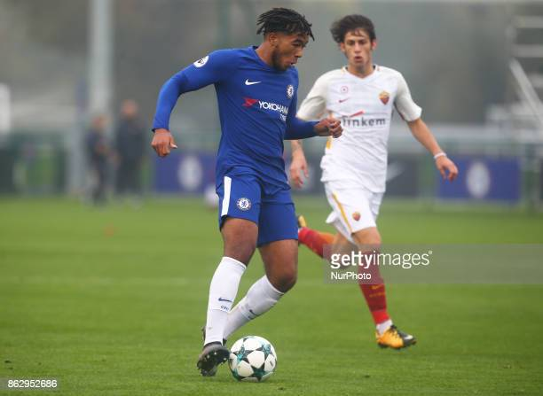 Reece James of Chelsea Under 19s during UEFA Youth League match between Chelsea Under 19s against AS Roma Under 19s at Cobham Training Ground Cobham...
