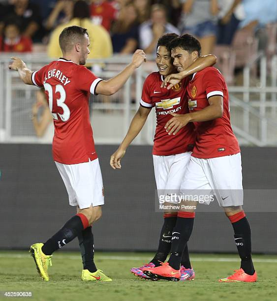 Reece James of Manchester United celebrates scoring their fifth goal during the preseason friendly match between Los Angeles Galaxy and Manchester...