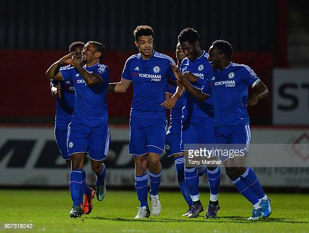 Reece Mitchell of Chelsea celebrates scoring their first goal during the Barclays U21 Premier League International Cup match between Tottenham...