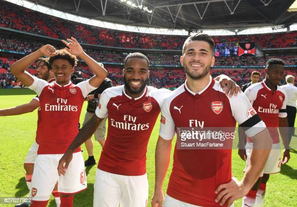 Reece Nelson Alex Lacazette and Sead Kolasinac of Arsenal after the FA Community Shield match between Chelsea and Arsenal at Wembley Stadium on...