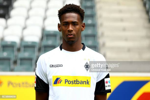 Reece Oxford of Borussia Moenchengladbach poses during the team presentation at Borussia Park on July 28 2017 in Moenchengladbach Germany