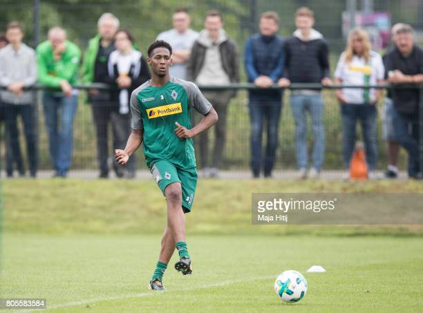 Reece Oxford of Moenchengladbach controls the ball during Training Session on July 2 2017 in Moenchengladbach Germany