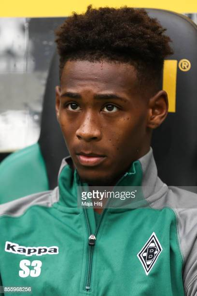 Reece Oxford of Moenchengladbach sits on the bench prior the Bundesliga match between Borussia Moenchengladbach and Hannover 96 at BorussiaPark on...