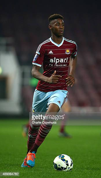 Reece Oxford of West Ham in action during the 2015 Barclays U21 Premier League International Cup between West Ham United U21 and PSV Eindhoven U21 at...