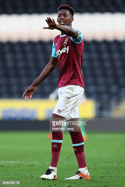 Reece Oxford of West Ham in action during the Second Leg of the Premier League U21 Cup Final at the KC Stadium on May 04 2016 in Hull England