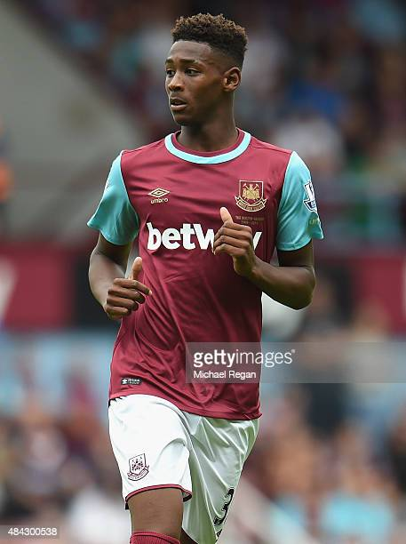 Reece Oxford of West Ham looks on during the Barclays Premier League match between West Ham United and Leicester City at the Boleyn Ground on August...