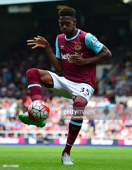 Reece Oxford of West Ham United in action during the Barclays Premier League match between West Ham United and Leicester City at the Boleyn Ground on...