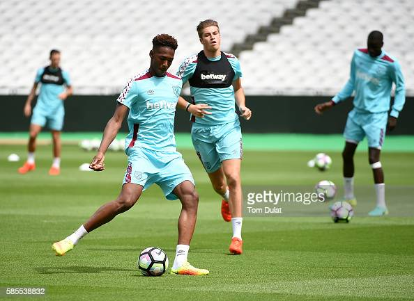 Reece Oxford of West Ham United in action during the West Ham United training session at London Stadium in Queen Elizabeth Olympic Park on August 3...