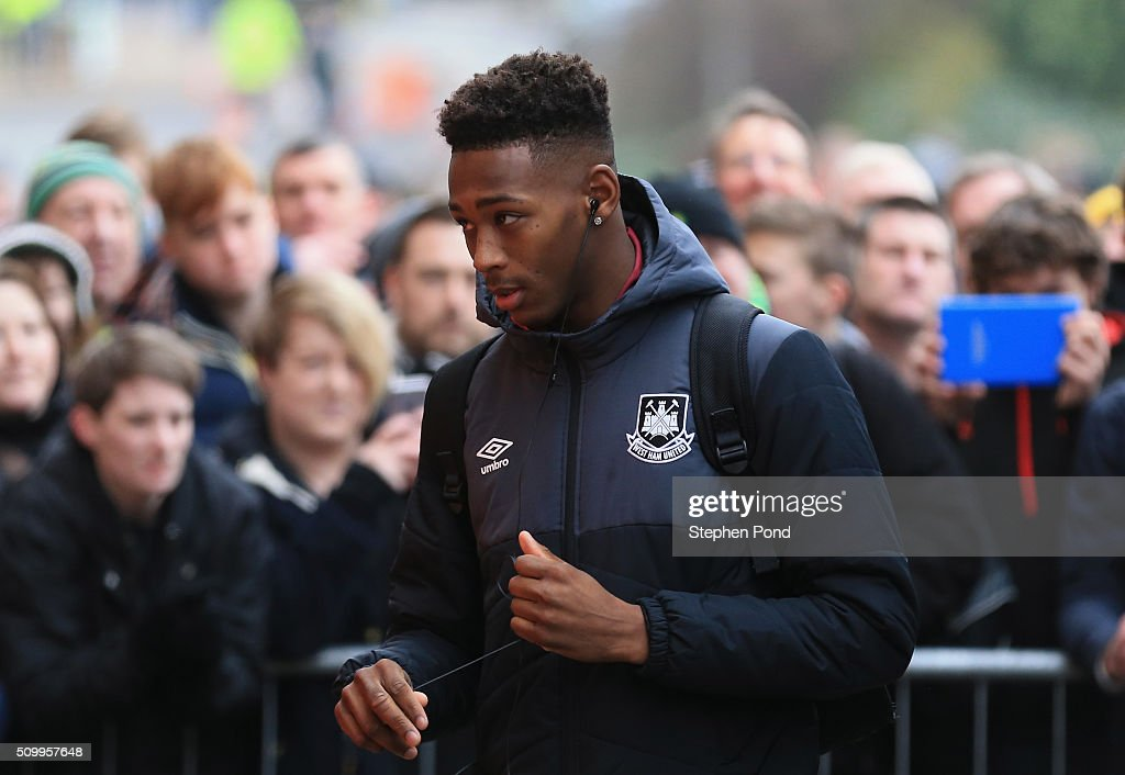 <a gi-track='captionPersonalityLinkClicked' href=/galleries/search?phrase=Reece+Oxford&family=editorial&specificpeople=13747395 ng-click='$event.stopPropagation()'>Reece Oxford</a> of West Ham United is seen on arrival at the stadium prior to the Barclays Premier League match between Norwich City and West Ham United at Carrow Road on February 13, 2016 in Norwich, England.