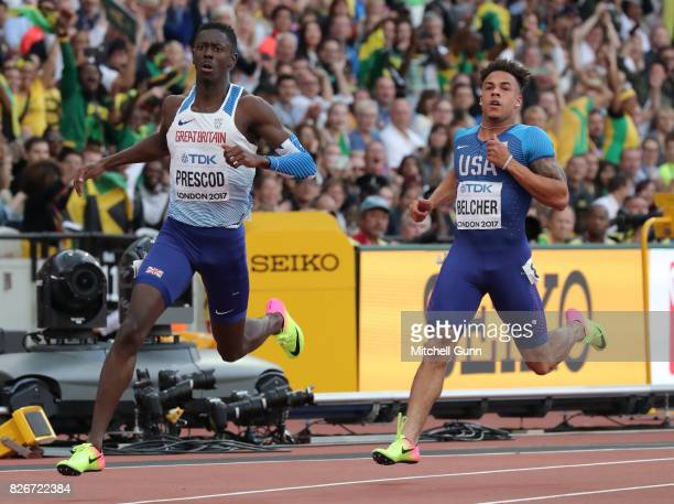 Reece Prescod of Great Britain and Northern Ireland and Christopher Belcher od The USA competing in the semifinal of the men's 100 metres during day...