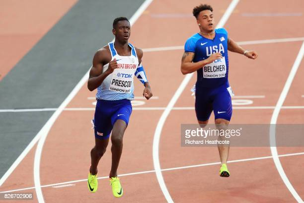 Reece Prescod of Great Britain Christopher Belcher of the United States during day two of the 16th IAAF World Athletics Championships London 2017 at...