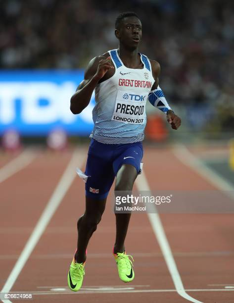Reece Prescod of Great Britain competes in the Men's 100m heats during day one of the 16th IAAF World Athletics Championships London 2017 at The...