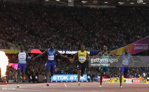 Reece Prescod of Great Britain Justin Gatlin of the United States Yohan Blake of Jamaica Akani Simbine of South Africa and Christian Coleman of the...