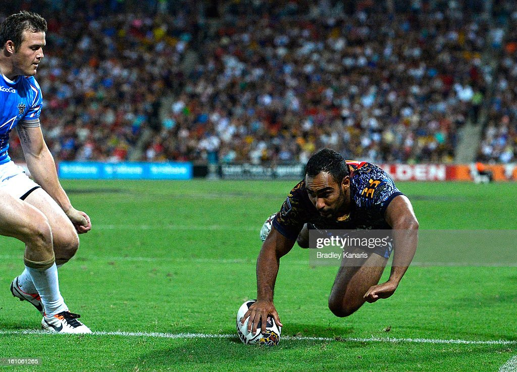 Reece Robinson of the Indigenous All Stars scores a try during the NRL All Stars Game between the Indigenous All Stars and the NRL All Stars at Suncorp Stadium on February 9, 2013 in Brisbane, Australia.