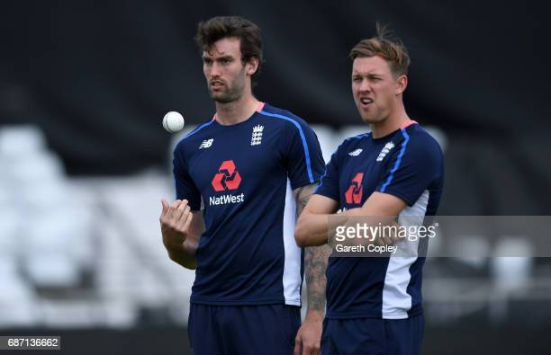 Reece Topley and Jake Ball of England during a nets session at Headingley on May 23 2017 in Leeds England