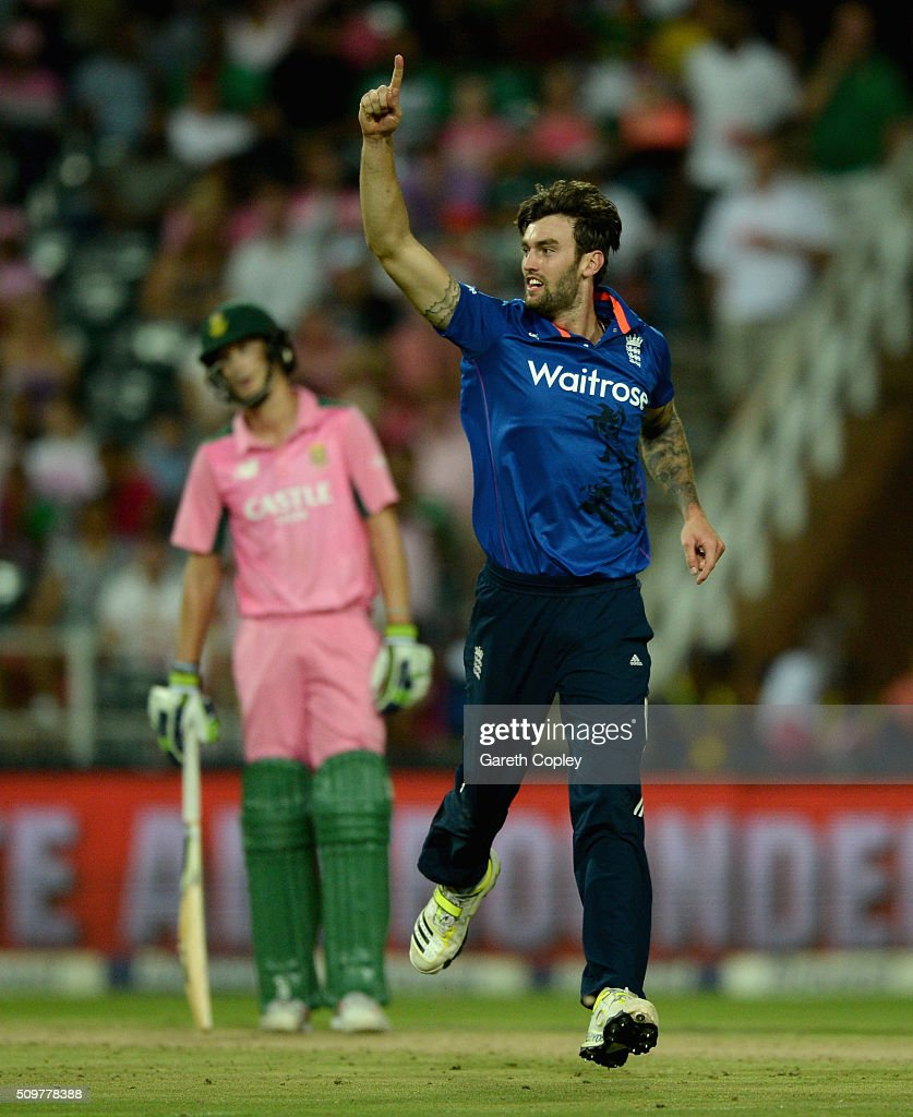Reece Topley of England celebrates dismissing Kagiso Rabada of South Africa during the 4th Momentum ODI between South Africa and England at Bidvest Wanderers Stadium on February 12, 2016 in Johannesburg, South Africa.
