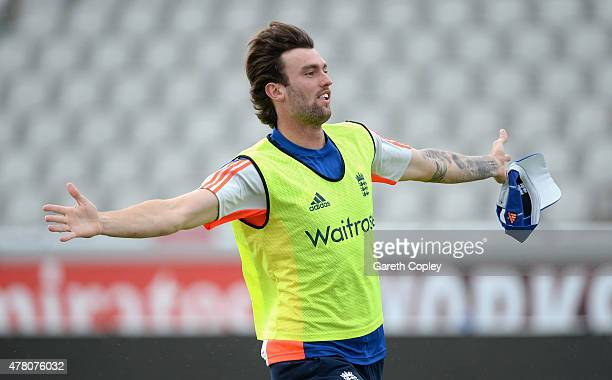 Reece Topley of England celebrates scoring a goal during a football warm up match ahead of a nets session at Old Trafford on June 22 2015 in...