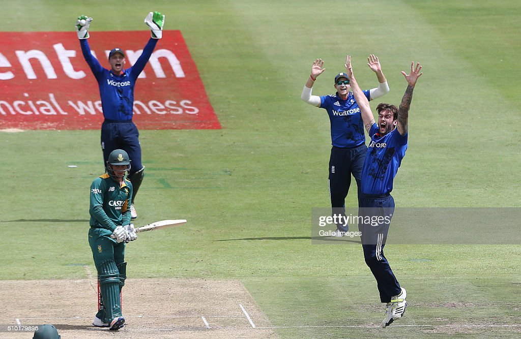 Reece Topley of England during the 5th Momentum ODI Series match between South Africa and England at PPC Newlands on February 14, 2016 in Cape Town, South Africa.