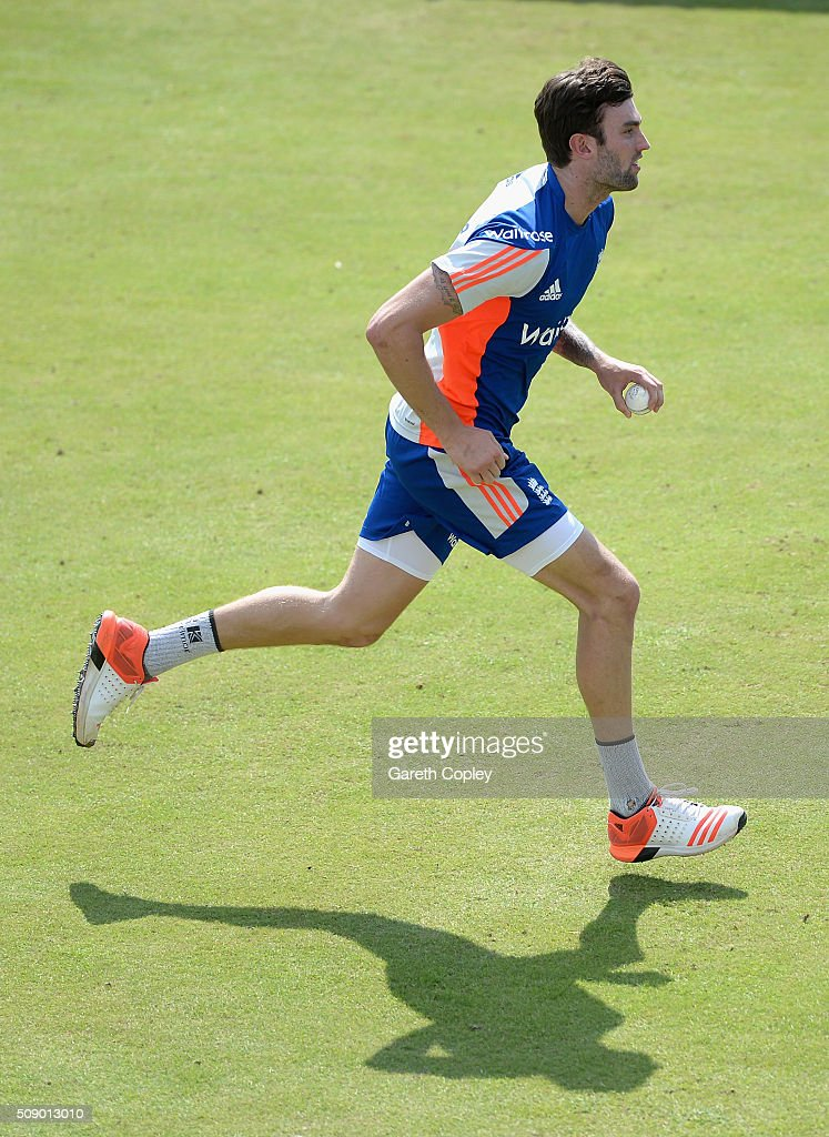 Reece Topley of England runs into bowl during a nets session at Supersport Park on February 8, 2016 in Centurion, South Africa.
