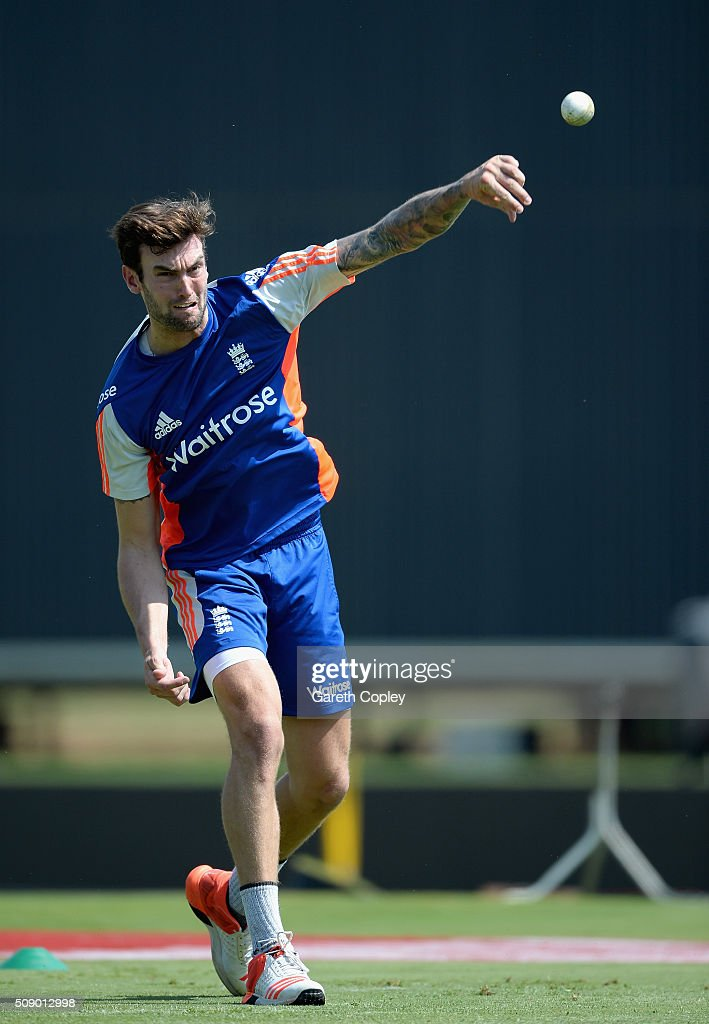 Reece Topley of England throws during a nets session at Supersport Park on February 8, 2016 in Centurion, South Africa.