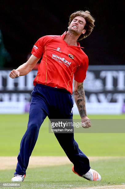 Reece Topley of Essex celebrates taking a wicket during the Royal London OneDay Cup Quarter Final match between Essex and Yorkshire at The Essex...