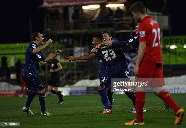 Reece Wabara of Oldham Athletic celebrates scoring his team's third goal during the FA Cup with Budweiser Fourth Round match between Oldham Athletic...