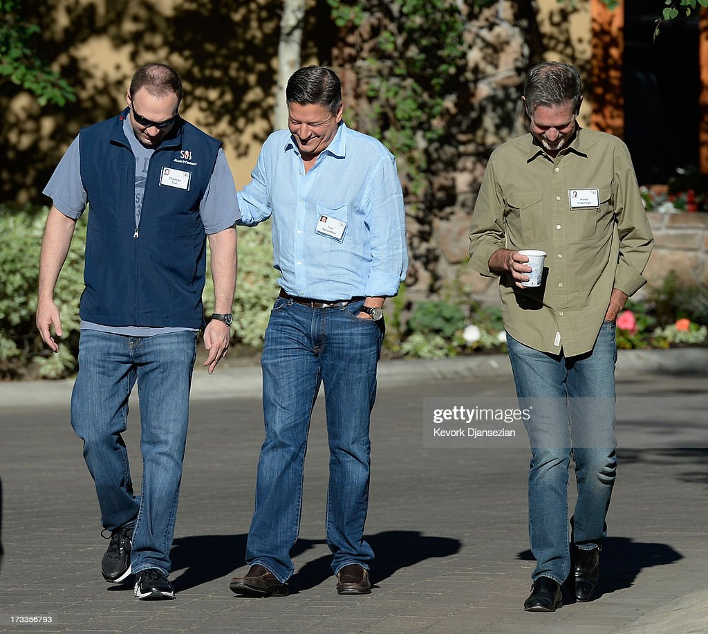 Reed Hastings,(R) CEO of Netflix, Ted Sarandos, Chief Content Officer and Vice President of Content at Netflix, and Thomas Tull, founder and CEO of Legendary Pictures, LLC, attend the Allen & Co. annual conference on July 12, 2013 in Sun Valley, Idaho. The resort will host corporate leaders for the 31st annual Allen & Co. media and technology conference where some of the wealthiest and most powerful executives in media, finance, politics and tech gather for week long meetings. Past attendees included Warren Buffett, Bill Gates and Mark Zuckerberg.