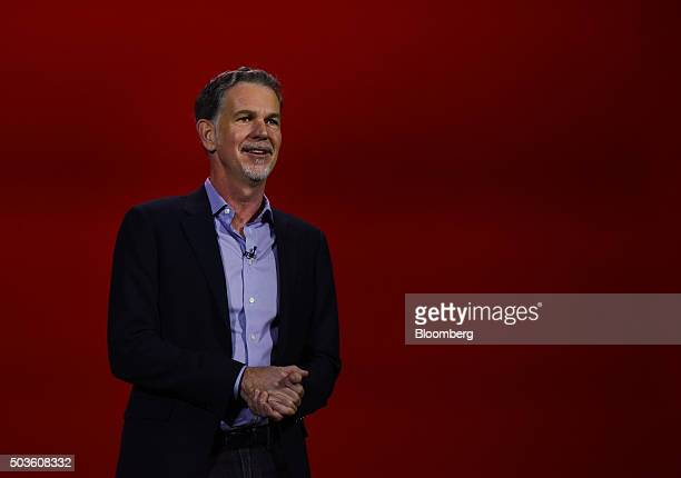 Reed Hastings chairman president and CEO of Netflix Inc delivers a keynote address during an event at the 2016 Consumer Electronics Show in Las Vegas...