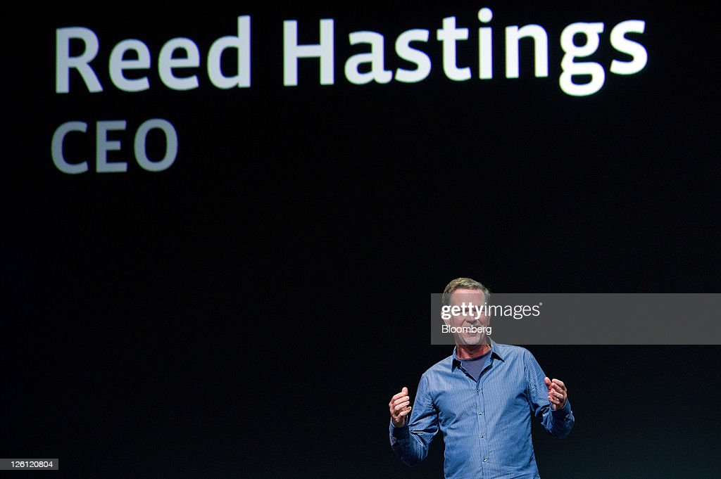 <a gi-track='captionPersonalityLinkClicked' href=/galleries/search?phrase=Reed+Hastings&family=editorial&specificpeople=3798482 ng-click='$event.stopPropagation()'>Reed Hastings</a>, chief executive officer and president of Netflix Inc., speaks at Facebook's F8 developers conference in San Francisco, California, U.S., on Thursday, Sept. 22, 2011. Mark Zuckerberg, chief executive officer and founder of Facebook Inc., unveiled new features that will let users share music, movies and TV shows through the social network's website. Photographer: David Paul Morris/Bloomberg via Getty Images