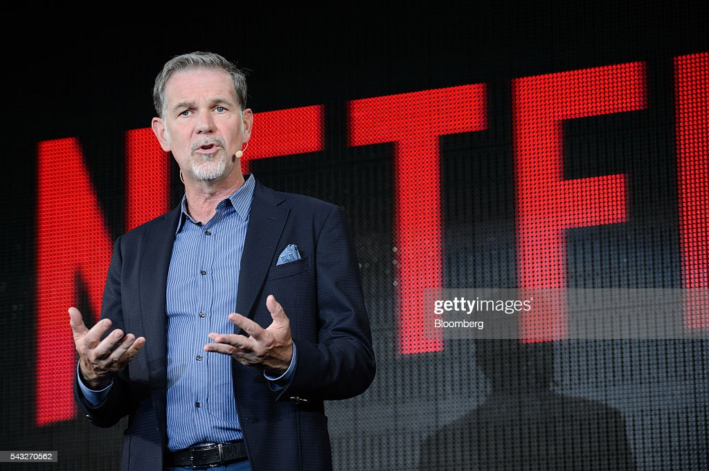 <a gi-track='captionPersonalityLinkClicked' href=/galleries/search?phrase=Reed+Hastings&family=editorial&specificpeople=3798482 ng-click='$event.stopPropagation()'>Reed Hastings</a>, chief executive officer of Netflix Inc., speaks during a news conference in Tokyo, Japan, on Monday, June 27, 2016. Netflix intends to produce more original Japanese television shows after the 10-episode Hibana series it introduced earlier this month beat the company's expectations by drawing viewers from Brazil to Germany and the U.S. Photographer: Akio Kon/Bloomberg via Getty Images