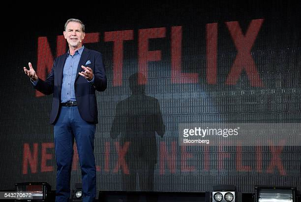 Reed Hastings chief executive officer of Netflix Inc speaks during a news conference in Tokyo Japan on Monday June 27 2016 Netflix intends to produce...
