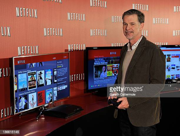 Reed Hastings CoFounder and CEO Netflix poses during the Netflix UK launch in London England on January 9 2012 Netflix the leading global internet...