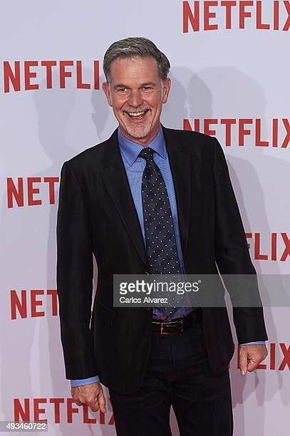 Reed Hastings founder and CEO of Netflix attends the red carpet of Netflix presentation at the Matadero Cultural center on October 20 2015 in Madrid...