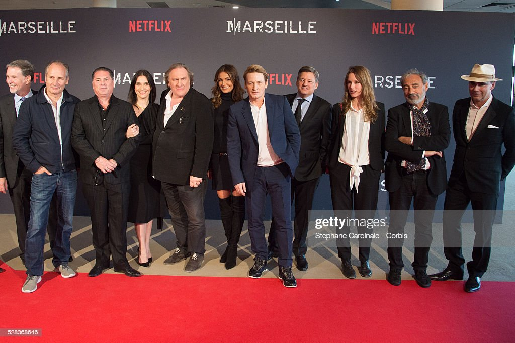 Reed Hastings, Hyppolyte Girardot, Florent Siri, Geraldine Pailhas, Gerard Depardieu, Nadia Fares, Benoit Magimel, Ted Sarandos, Stephane Caillard, Dan Franck and Pascal Breton attend the 'Marseille' Netflix TV Serie World Premiere At Palais Du Pharo In Marseille, on May 4, 2016 in Marseille, France.