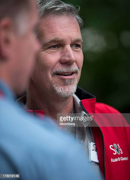 Reed Hastings president and chief executive officer of Netflix Inc walks the grounds at the Allen Co Media and Technology Conference in Sun Valley...