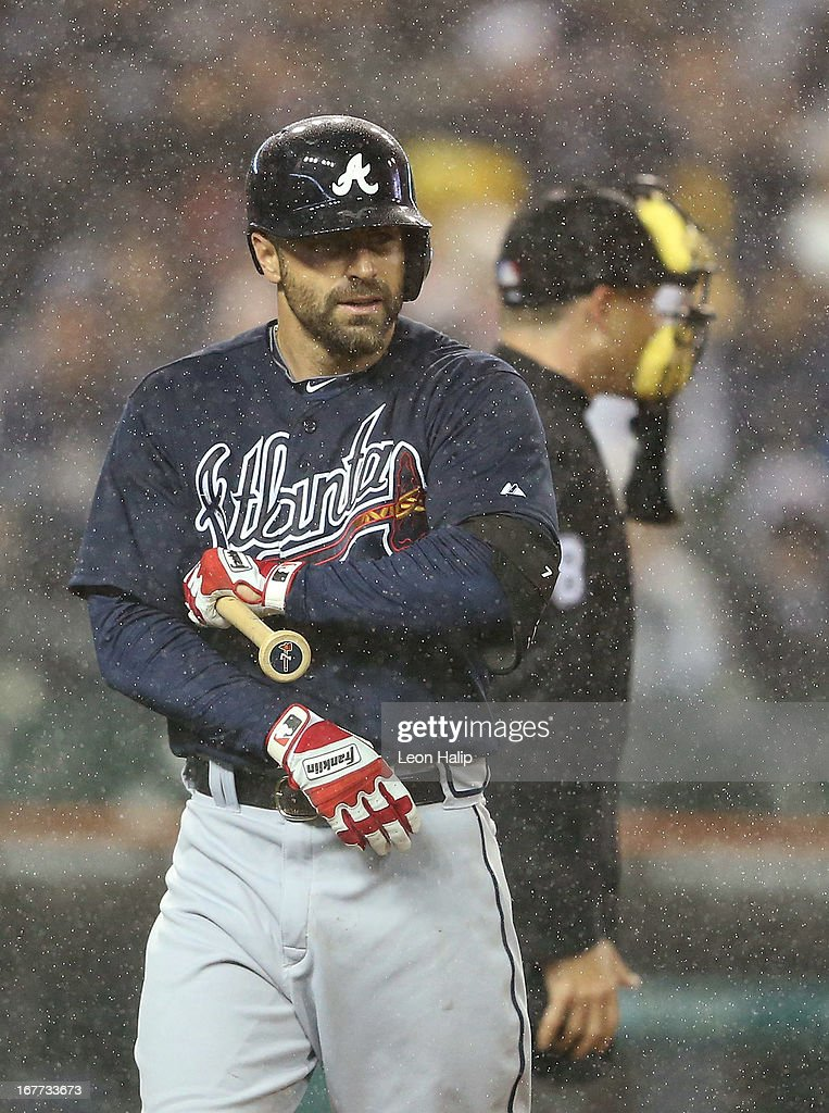 Reed Johnson #7 of the Atlanta Braves walks back to the dugout after striking out in the sixth inning of the game against the Detroit Tigers at Comerica Park on April 28, 2013 in Detroit, Michigan.
