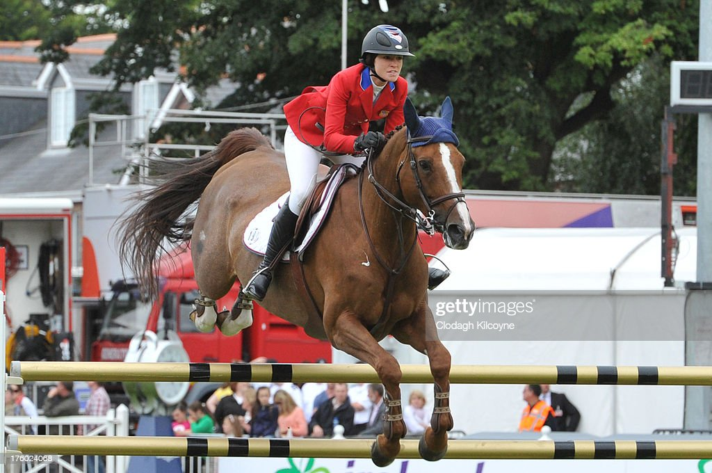 Reed Kessler and Cylana of USA competes in the Longines International Showjumping Grand Prix of Ireland with a prize of EUR200,000 at the RDS Dublin Horse Show on August 11, 2013 in Dublin, Ireland.