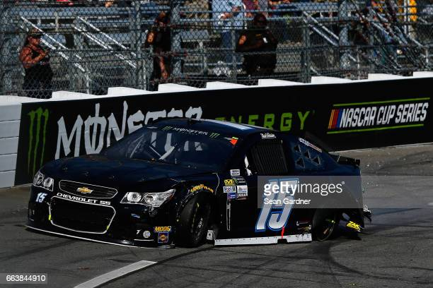 Reed Sorenson driver of the Chevrolet wrecks during the Monster Energy NASCAR Cup Series STP 500 at Martinsville Speedway on April 2 2017 in...