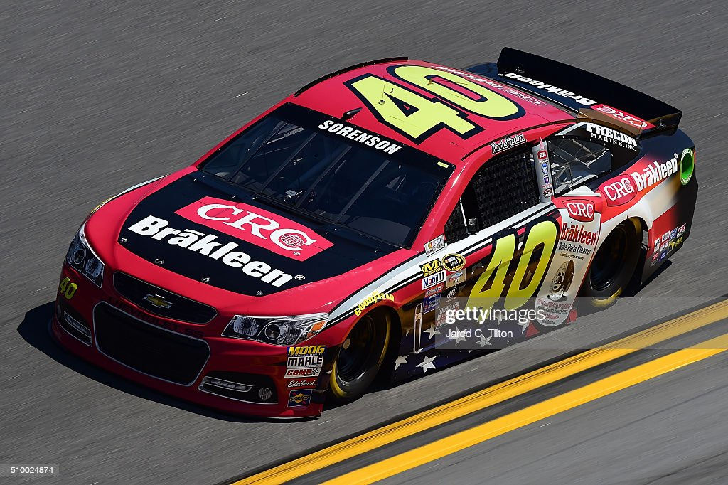 <a gi-track='captionPersonalityLinkClicked' href=/galleries/search?phrase=Reed+Sorenson&family=editorial&specificpeople=208807 ng-click='$event.stopPropagation()'>Reed Sorenson</a>, driver of the #40 CRC Brakleen Chevrolet, practices for the NASCAR Sprint Cup Series Daytona 500 at Daytona International Speedway on February 13, 2016 in Daytona Beach, Florida.