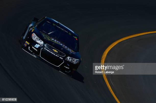 Reed Sorenson driver of the Losers Bar Grill Chevrolet drives during practice for the Monster Energy NASCAR Cup Series Quaker State 400 presented by...