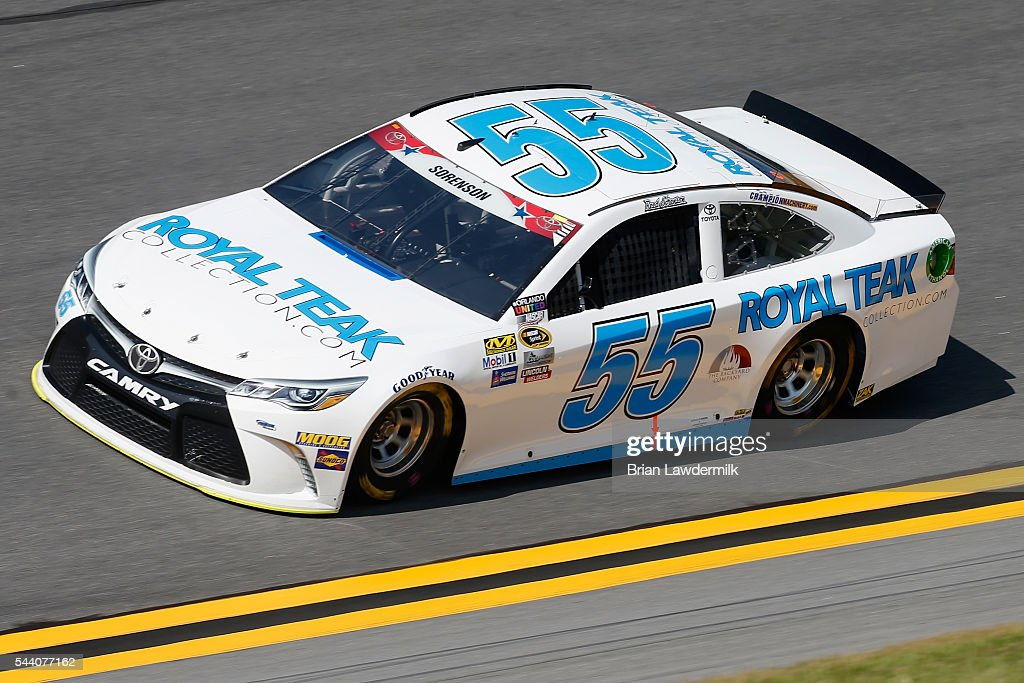 Reed Sorenson, driver of the #55 RoyalTeakCollection.com Toyota, practices for the NASCAR Sprint Cup Series Coke Zero 400 at Daytona International Speedway on July 1, 2016 in Daytona Beach, Florida.