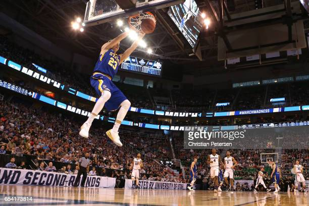 Reed Tellinghuisen of the South Dakota State Jackrabbits goes up for a dunk in the second half against the Gonzaga Bulldogs during the first round of...