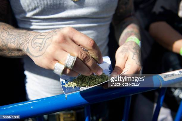 A reefer or marijuana cigarette is prepared during the Denver 420 Rally the world's largest celebration of both the legalization of cannabis and...