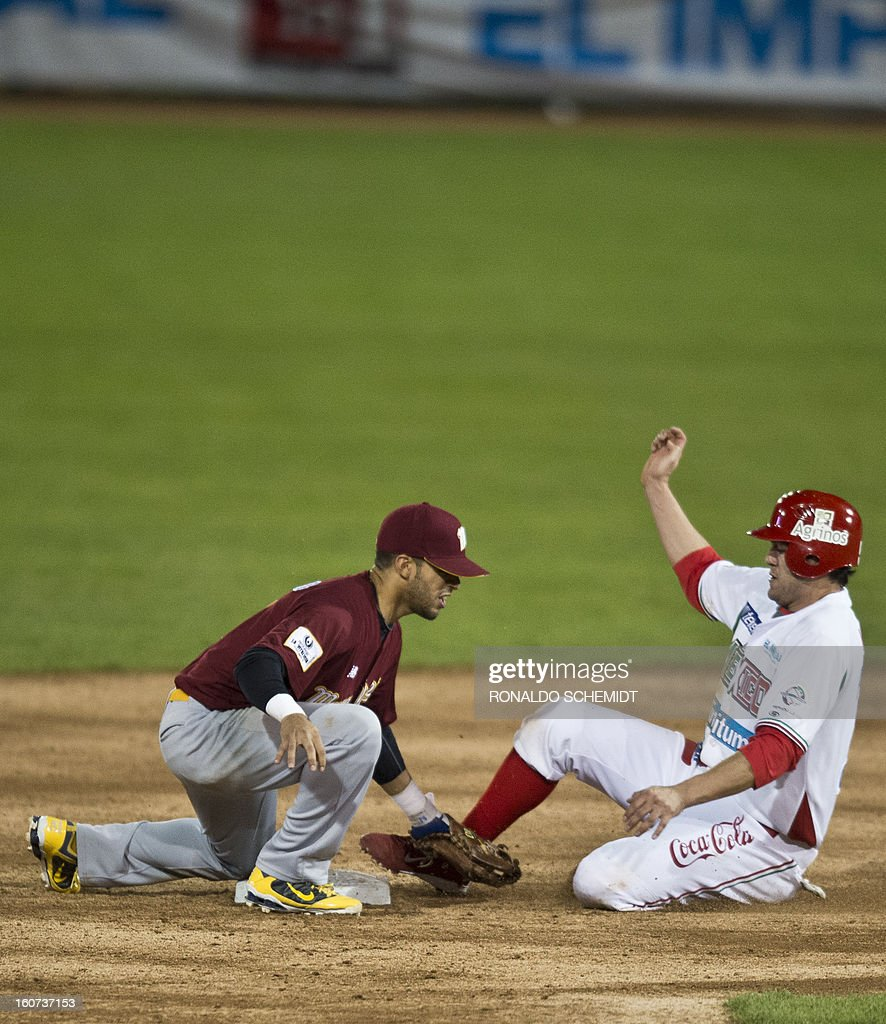 Reegie Corona (L) of Magallanes of Venezuela tags out Agustin Murillo (R) of Yaquis de Obregon of Mexico on second base during the 2013 Caribbean baseball series, on February 4, 2013, in Hermosillo, Sonora State, northern Mexico. AFP PHOTO/Ronaldo Schemidt