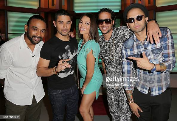 Reek Wilmer Valderrama Zuleyka Rivera Sky Blu and Sensato are seen on the set of Despierta America at Univision Headquarters on October 24 2013 in...