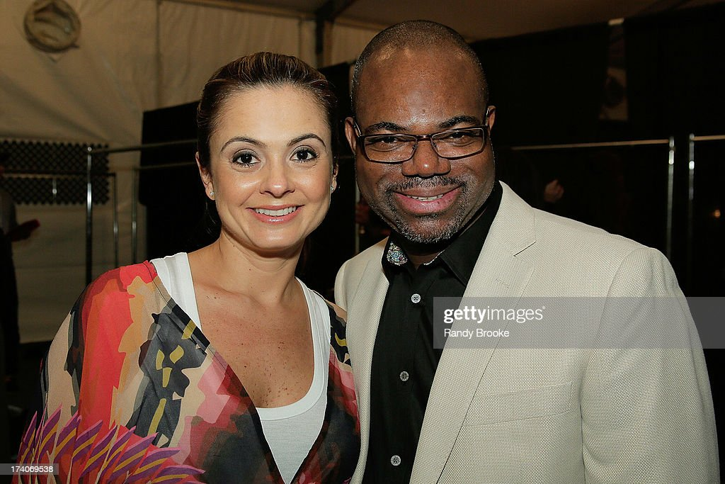 Reel Code Founder Isaac Daniel backstage with Agua Bendita Designer Mariana Hinestroza after the show at Mercedes-Benz Fashion Week Swim 2014 at Raleigh Hotel on July 19, 2013 in Miami Beach, Florida.